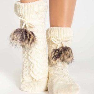PJ Salvage Aspen Cable Knit Socks Ivory O/S